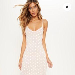 PrettyLittleThing Pink White Polka Dot Maxi Dress